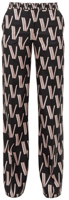 Valentino High-rise V-print Silk-satin Trousers - Womens - Black