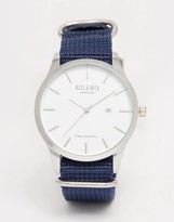Reclaimed Vintage Logo Military Watch In Navy Canvas