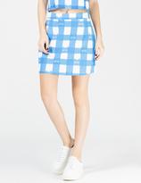 Lazy Oaf Blue Cat Gingham A-Line Skirt
