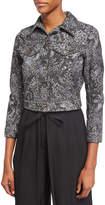 Marc Jacobs Crystal-Embroidered Paisley Denim Jacket, Black