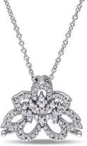 Laura Ashley 1/4 CT TW Diamond 10K White Gold Flower Pendant Necklace