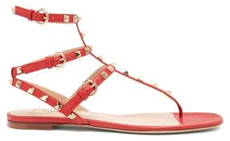 Valentino Rockstud Leather Sandals - Womens - Red