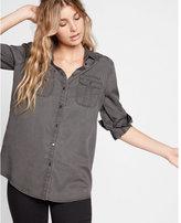 Express Petite Soft Twill Military Boyfriend Shirt