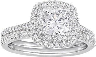 Stella Grace 14k White Gold 1/2 Carat T.W. Diamond & Lab Created Moissanite Engagement Ring Set