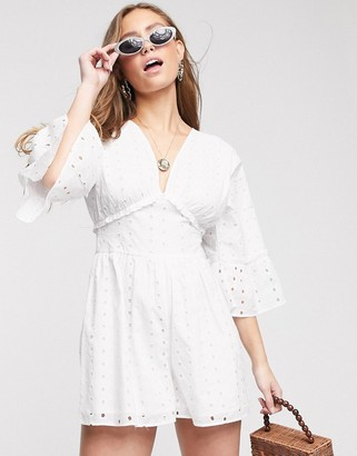 ASOS DESIGN swing romper with frill sleeve in broderie in white