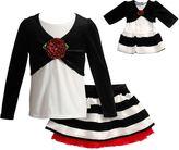 Dollie & Me Girls 4-14 Striped Velour Mock-Layer Top & Skirt Set