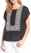 Lucky Brand Women's Embroidered Mixed Media Top