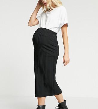 ASOS DESIGN Maternity rib midaxi skirt in black