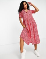 Thumbnail for your product : Monki Mattan ecovero viscose midi shirt dress in red floral print