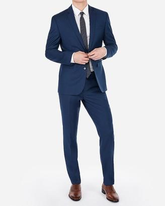 Express Slim Blue Wool-Blend Stretch Suit Jacket