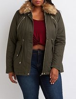 Charlotte Russe Plus Size Faux Fur Collar Anorak Jacket