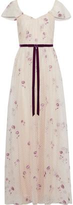 Marchesa Velvet-trimmed Embroidered Metallic Point D'esprit Gown