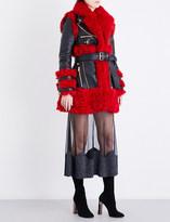 Alexander McQueen Biker-collar leather and shearling coat