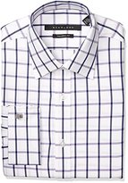 Sean John Men's Regular Fit Windowpane Check Spread Collar Dress Shirt