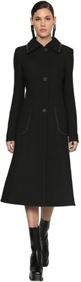Loewe Long Wool Coat W/ Leather Details