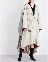 Balenciaga Self-tie hybrid-panel cotton coat