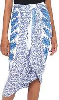Indonesian Sun Theme Hand Stamped Batik on Blue Rayon Sarong, 'Cerulean Sunshine'