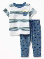 Old Navy Chest-Pocket Tee & Printed Jersey Pants Set for Baby