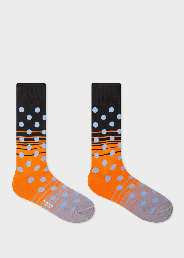 Thumbnail for your product : Paul Smith Men's Black Stripe-Dot Socks