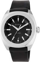 Gucci 44mm Stainless Steel Watch w/ Leather Strap