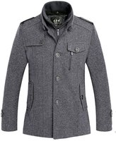 Yinhan YH Mens Winter Business Casual Midi-pattern Wool collar dust coat L