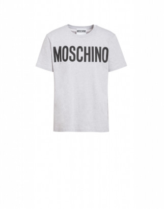 Moschino Cotton T-shirt With Logo Print Man Grey Size 44 It - (34 Us)