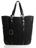 Ralph Lauren Black Leather Quilted Open Top Tote Handbag