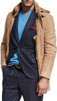 Brunello Cucinelli Suede & Shearling Hooded Coat