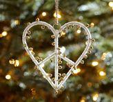 Pottery Barn Jingle Bell Peace Sign Heart Ornament