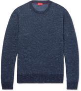 Isaia Birdseye Mélange Cashmere Sweater - Blue