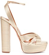 Aquazzura Sundance 140 Metallic-leather Platform Sandals - Womens - Gold