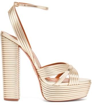 Aquazzura Sundance 140 Metallic-leather Platform Sandals - Gold