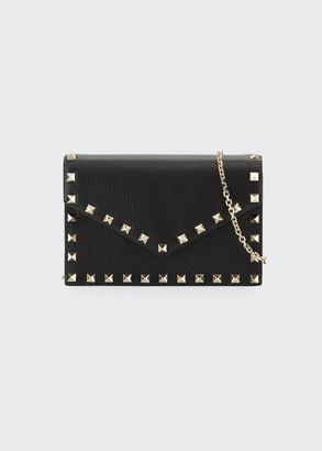 Valentino Garavani Rockstud Small Leather Flap Wallet on a Chain