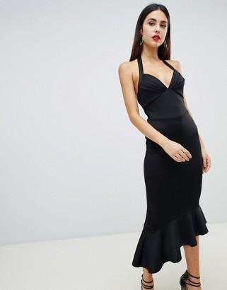 Asos Design DESIGN scuba halter pephem midi dress-Black