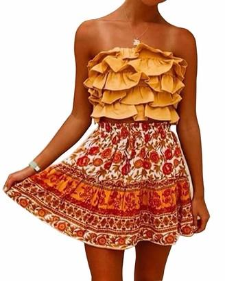 Yidarton Women's Skirt Summer Floral Polka Pot Printed High Waist Drawstring Layered Ruffle Boho A-Line Pleated Skater Mini Skirt (Yellow Medium)