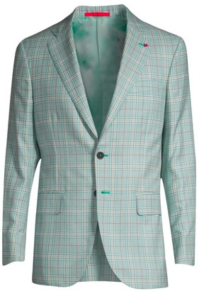 Isaia Plaid Cashmere & Silk Single-Breasted Jacket