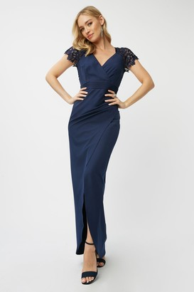 Little Mistress Bridesmaid Aliza Navy Crochet Mock Wrap Maxi Dress