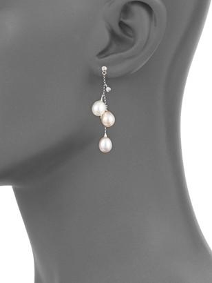 BELPEARL 14K White Gold 7mm Multi-Color Oval Pearl & Diamond Dangle Drop Earrings