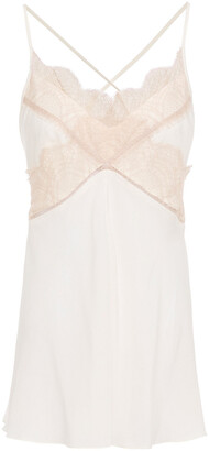 Victoria Beckham Lace-trimmed Silk Crepe De Chine Camisole