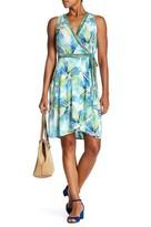 London Times T2626M Printed V-neck High Low Dress