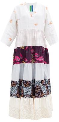 RIANNA + NINA Kendima Banded Cotton-poplin Maxi Dress - White Multi