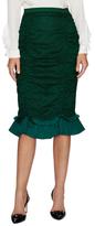 Oscar de la Renta Cotton Ruched Flare Hem Pencil Skirt
