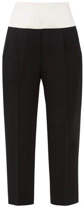 Givenchy Cummerbund-waist Cropped Wool-crepe Trousers - Black White