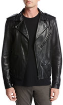 Vince Italian Leather Motorcycle Jacket, Black