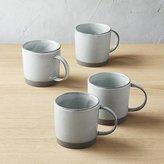 CB2 Cast Reactive Glaze White Mugs Set of 4