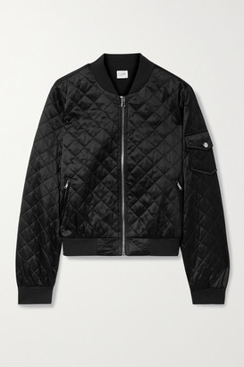 CAMI NYC Dierdre Quilted Silk-charmeuse Bomber Jacket - Black