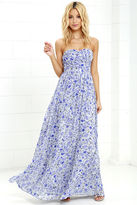 LuLu*s All Afloat Royal Blue Floral Print Strapless Maxi Dress