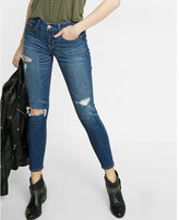 Express petite mid rise distressed stretch cropped jean legging