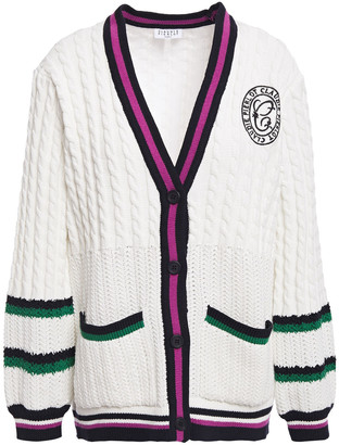 Claudie Pierlot Embroidered Striped Cable And Open-knit Cotton-blend Cardigan