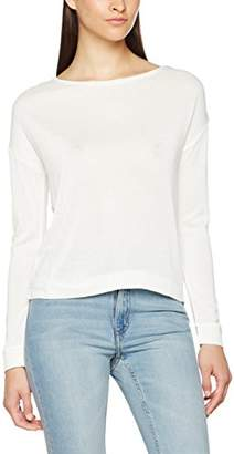 Mavi Jeans Women's Chiffon Back TOP Longsleeve T-Shirt, (Antique White 20814), M